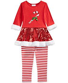 Blueberi Boulevard Toddler Girls 2-Pc. Candy Cane Top & Striped Leggings Set