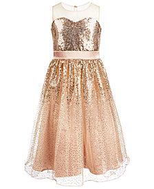 Bonnie Jean Big Girls Illusion Sequined Dress