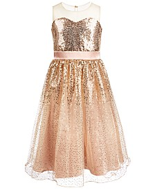Bonnie Jean Big Girls Illusion Sequined Dress