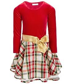 Bonnie Jean Little Girls Velvet Plaid Dress