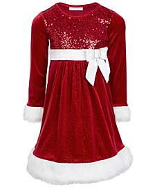 Toddler Girls Faux-Fur-Trim Sequined Santa Dress
