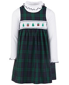 Little Girls 2-Pc. Turtleneck & Plaid Holiday Tree Jumper Set