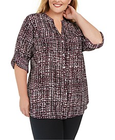 Plus Size Printed Roll-Sleeve Blouse
