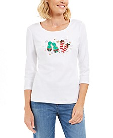 Cotton Flip-Flops Holiday Graphic Top, Created For Macy's