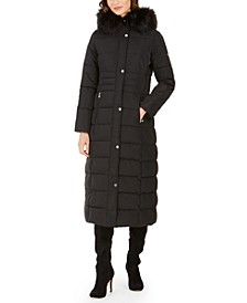 Petite Faux-Fur-Trim Hooded Maxi Puffer Coat