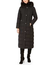 Calvin Klein Faux-Fur-Trim Hooded Maxi Puffer Coat