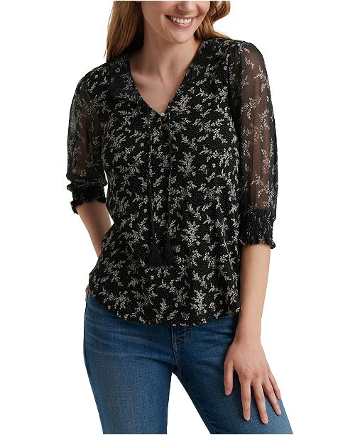 Lucky Brand Mix Media 3/4-Sleeve Top