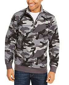 Men's Stretch Camouflage 1/4-Zip Fleece Sweatshirt, Created For Macy's