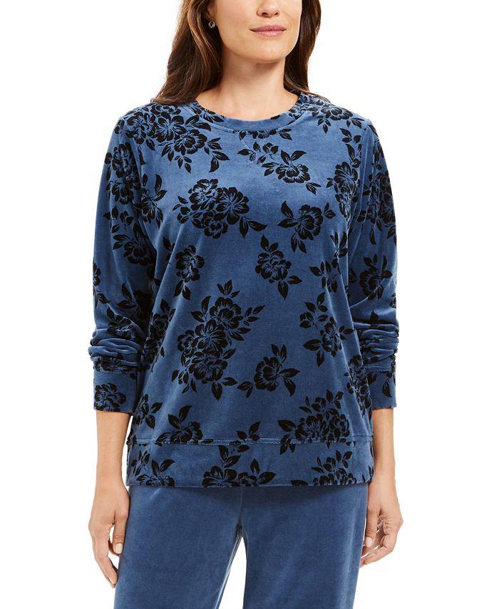 Karen Scott - Printed Flocked Sweatshirt
