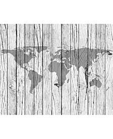 World Map Timber Wall Mural