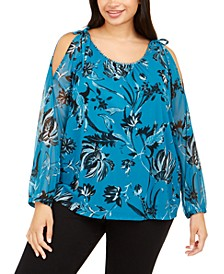 INC Plus Size Beaded-Neck Cold-Shoulder Top, Created For Macy's