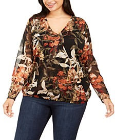 INC Plus Size Foil-Printed Surplice Top, Created For Macy's