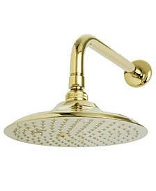 Victorian 8-Inch OD Brass Shower Head with 12-Inch Shower Arm in Polished Brass