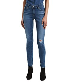 Distressed Curvy-Fit Skinny Jeans