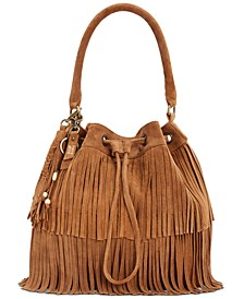 Phoebe Frindged Suede Bucket Bag