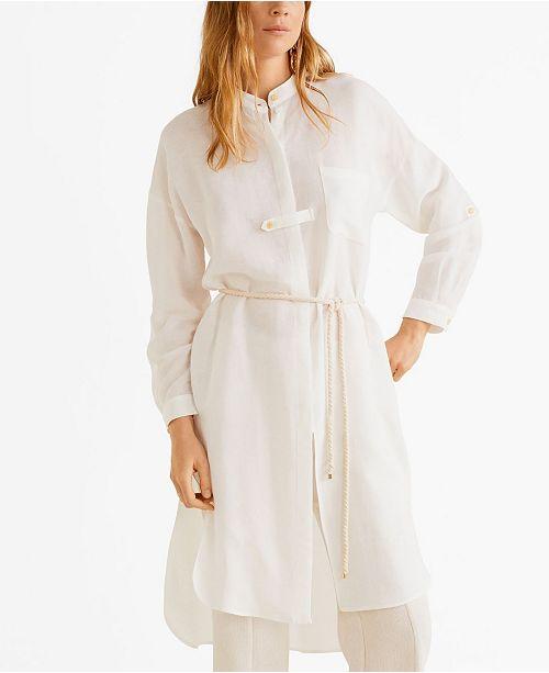 MANGO Linen Long Shirt