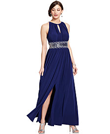 R&M Richards Petite Sleeveless Beaded Gown