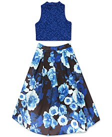 Big Girls Plus Size 2-Pc. Lace Top & Floral-Print Skirt Set