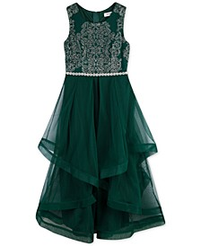 Big Girls Plus Size Beaded Crinoline-Trim Dress