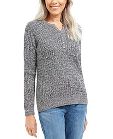 Cable-Knit Henley Sweater, Created for Macy's