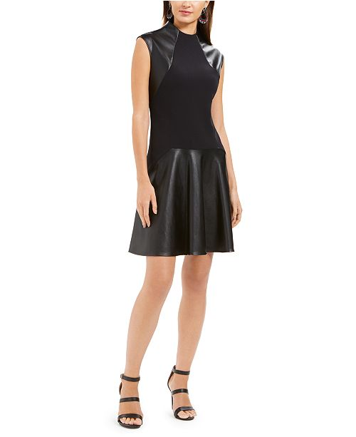 Natori Faux-Leather & Scuba Flounce Dress