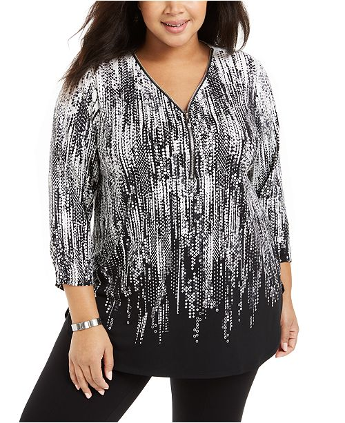 JM Collection Plus Size Printed Zip-Neck Tunic, Created For Macy's