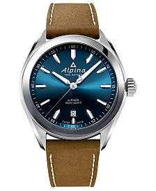 Alpina Men's Swiss Alpiner Brown Leather Strap Watch 42mm