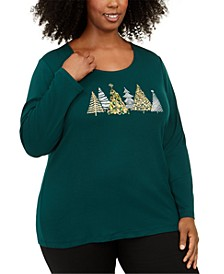 Plus Size Cotton Holiday Graphic Top, Created For Macy's