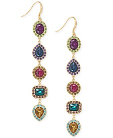 INC Gold-Tone Multi-Stone Linear Drop Earrings, Created For Macy's