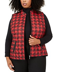 Plus Size Printed Puffer Vest, Created For Macy's