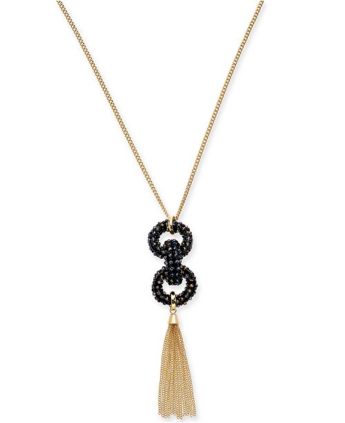 """INC International Concepts INC Gold-Tone Beaded Link & Chain Tassel Pendant Necklace, 28"""" + 3"""" extender, Created For Macy's"""