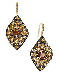 INC Gold-Tone Multi-Stone Cluster Drop Earrings, Created For Macy's