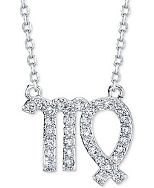 "Cubic Zirconia Zodiac Pendant Necklace in Fine Silver Plating, 16"" + 2"" extender"