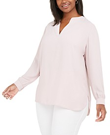 Plus Size Split-Neck Blouse