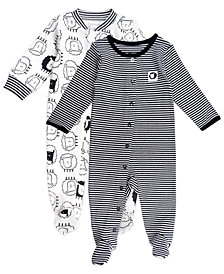 Mac & Moon Baby Boy and Girl 2-Pack Footed Sleep and Plays