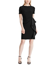 Petite Satin-Ruffle Jersey Dress