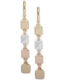 Tri-Tone Square Disc Linear Earrings