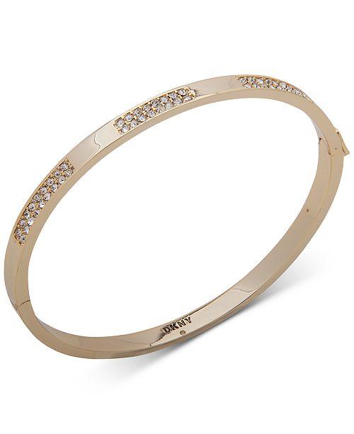 DKNY Gold-Tone Crystal Pavé Inlay Bangle Bracelet