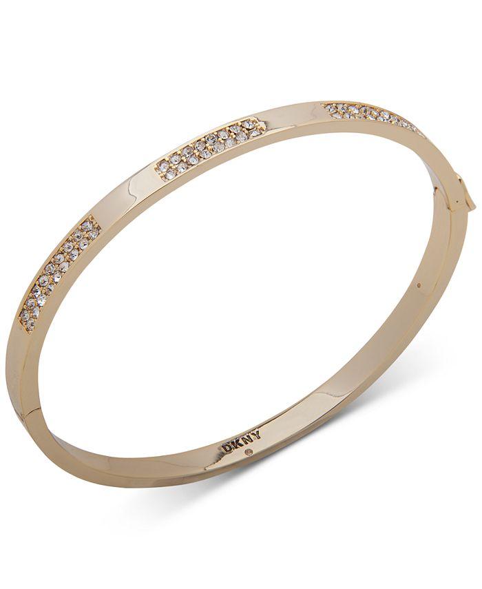 DKNY - Gold-Tone Crystal Pavé Inlay Bangle Bracelet