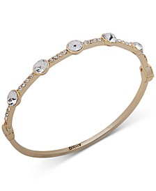 Gold-Tone Round Crystal Bangle Bracelet