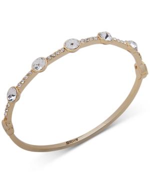 Dkny Gold-Tone Round Crystal Bangle Bracelet