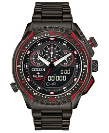 Citizen Eco-Drive Men's Analog-Digital Chronograph Promaster SST Black Stainless Steel Bracelet Watch 46mm