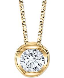 "Diamond Circular 18"" Pendant Necklace (1/5 ct. t.w.) in 14k Gold"