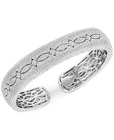 Diamond Filigree Pattern Cuff Bracelet (1/2 ct. t.w.) in Sterling Silver