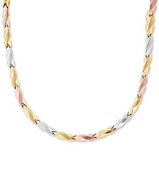 "Tricolor Stampato Link 17"" Chain Necklace in 10k Gold, White Gold & Rose Gold"