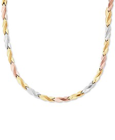 """Tricolor Stampato Link 17"""" Chain Necklace in 10k Gold, White Gold & Rose Gold"""