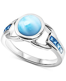 Larimar (8mm) & Blue Topaz (1/3 ct. t.w.) Statement Ring in Sterling Silver