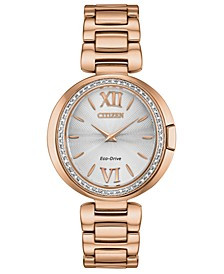 Eco-Drive Women's Capella Diamond-Accent Rose Gold-Tone Stainless Steel Bracelet Watch 34mm