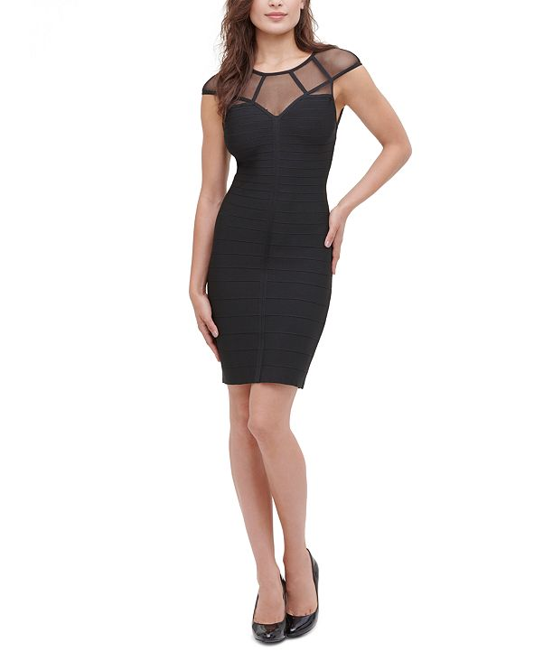 GUESS Illusion-Mesh Bodycon Dress