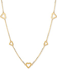 "Open Heart 18"" Statement Necklace in 14k Gold"